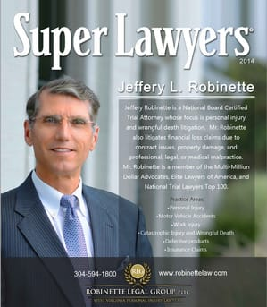 Morgantown, WV Personal Injury Attorney Jeff Robinette Named 2018 Super Lawyer